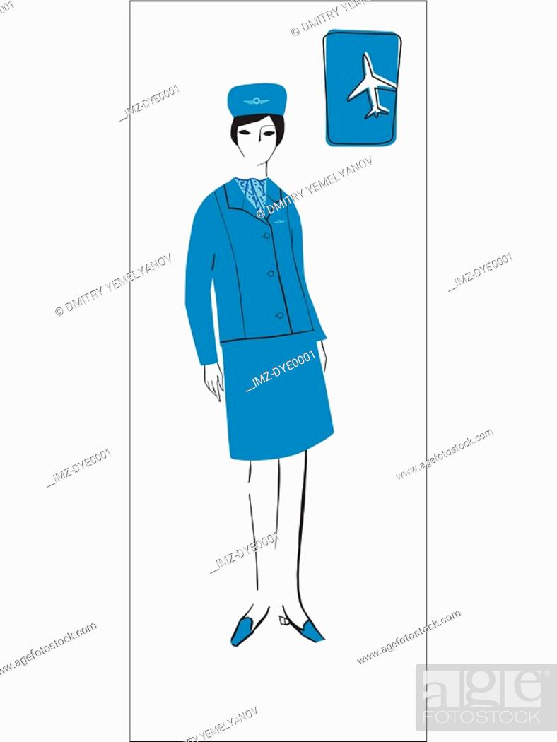 Stock Photo: A retro illustration of a female flight attendant.