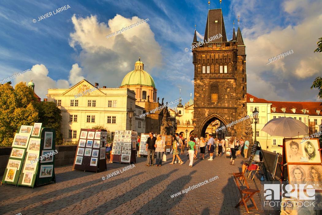 Stock Photo: Charles Bridge, Prague, Czech Republic, Europe.
