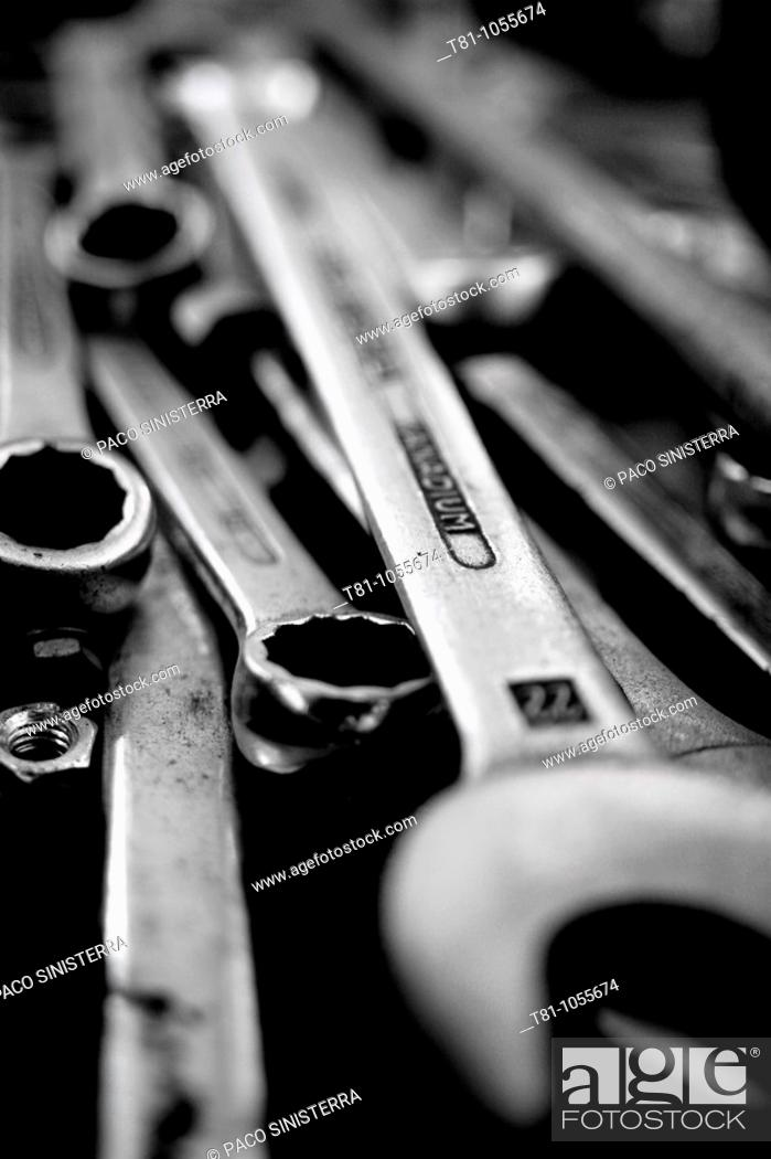 Stock Photo: group of tools, wrenches.