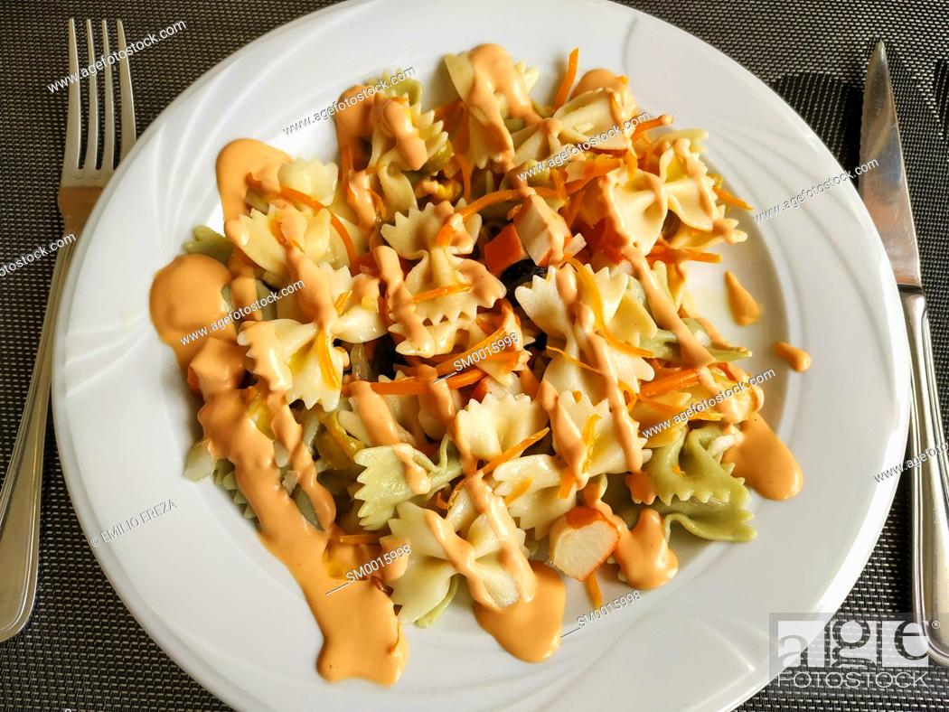 Stock Photo: Pasta salad, farfalle.