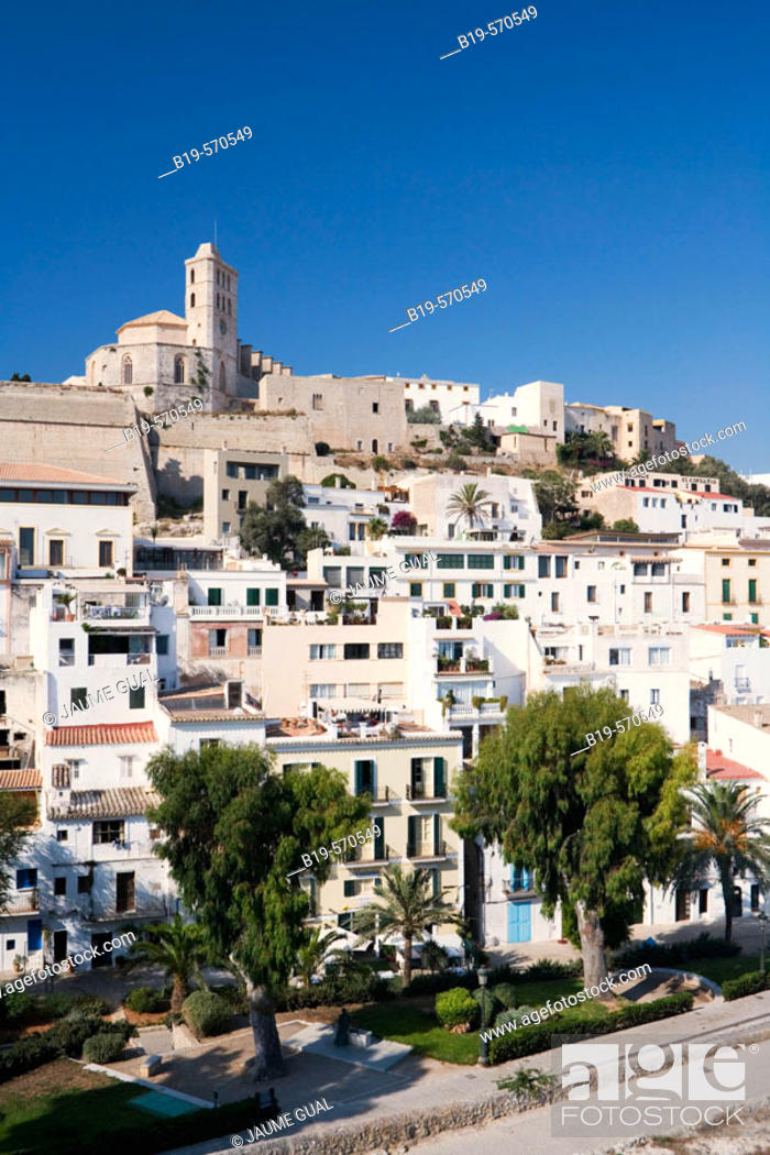 Stock Photo: Old town (Dalt Vila) with cathedral in background. Ibiza, Balearic Islands. Spain.