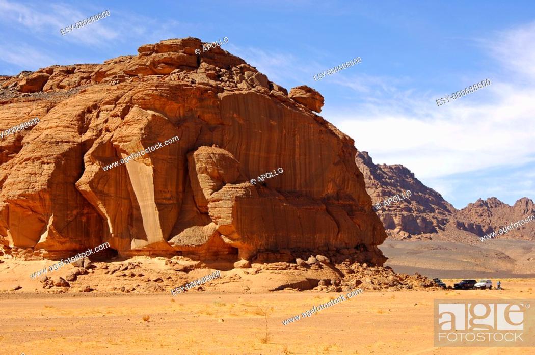 Stock Photo: Rock formation in the Acacus Mountains, Sahara desert, Libya.