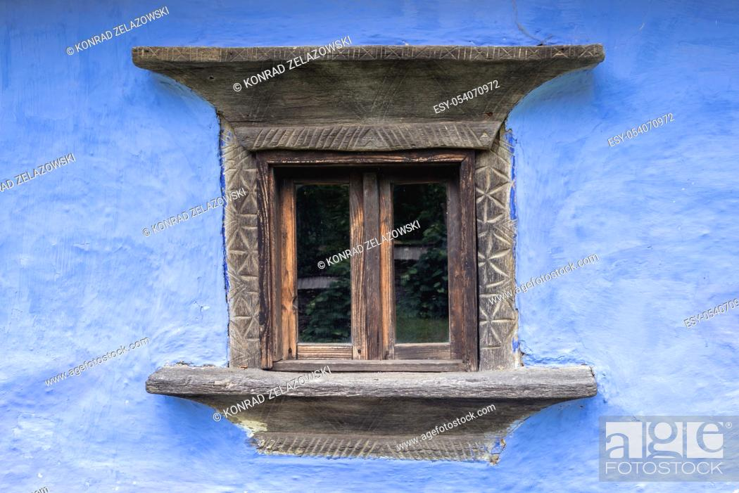 Stock Photo: Details of traditional wood and clay house in Oas Village Museum located in Negresti-Oas town in the county of Satu Mare in northwestern Romania.