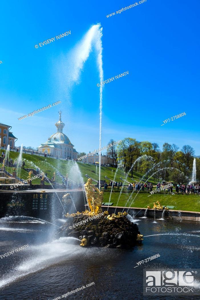 Stock Photo: Samson Fountain In Peterhof, Saint Petersburg, Russia.