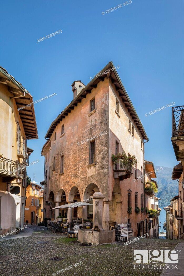 Stock Photo: Alleys in Cannobio, Lake Maggiore, province of Verbano-Cusio-Ossola, Piedmont, Italy, Europe.