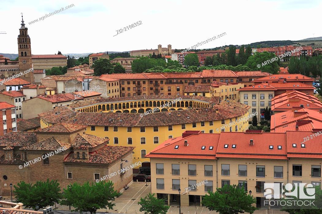 Stock Photo: Old bullring, XVIIIth century, nowadays housings, Tarazona, Zaragoza province, Spain.