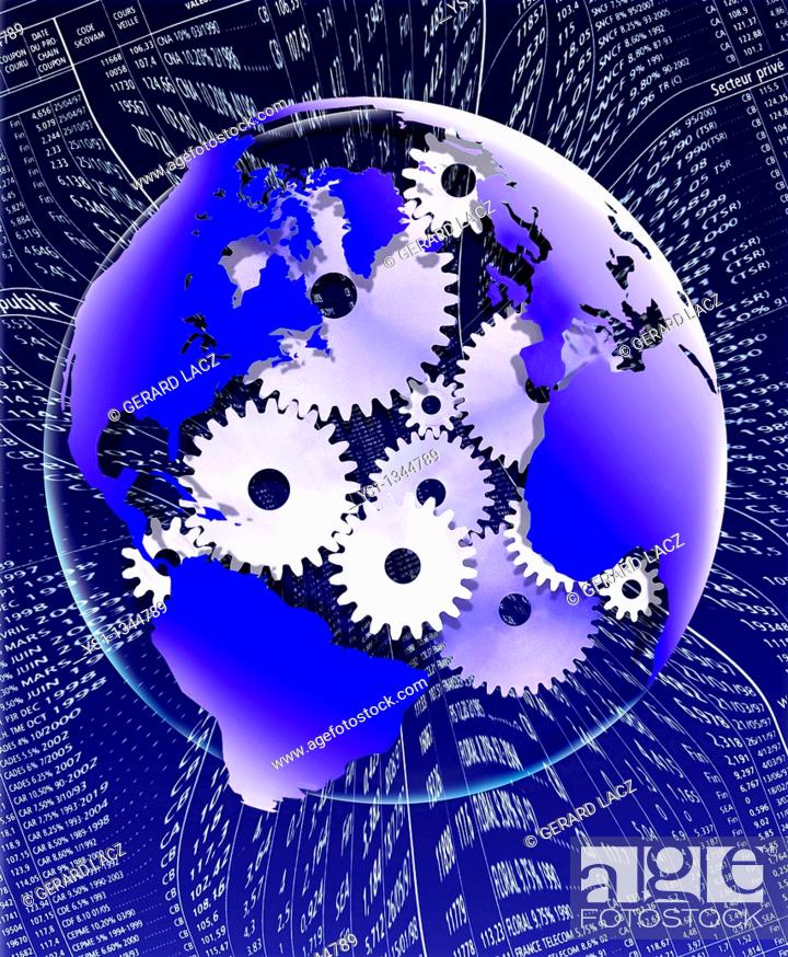 Stock Photo: SYMBOLIC IMAGE WITH THE EARTH AND GEARS.