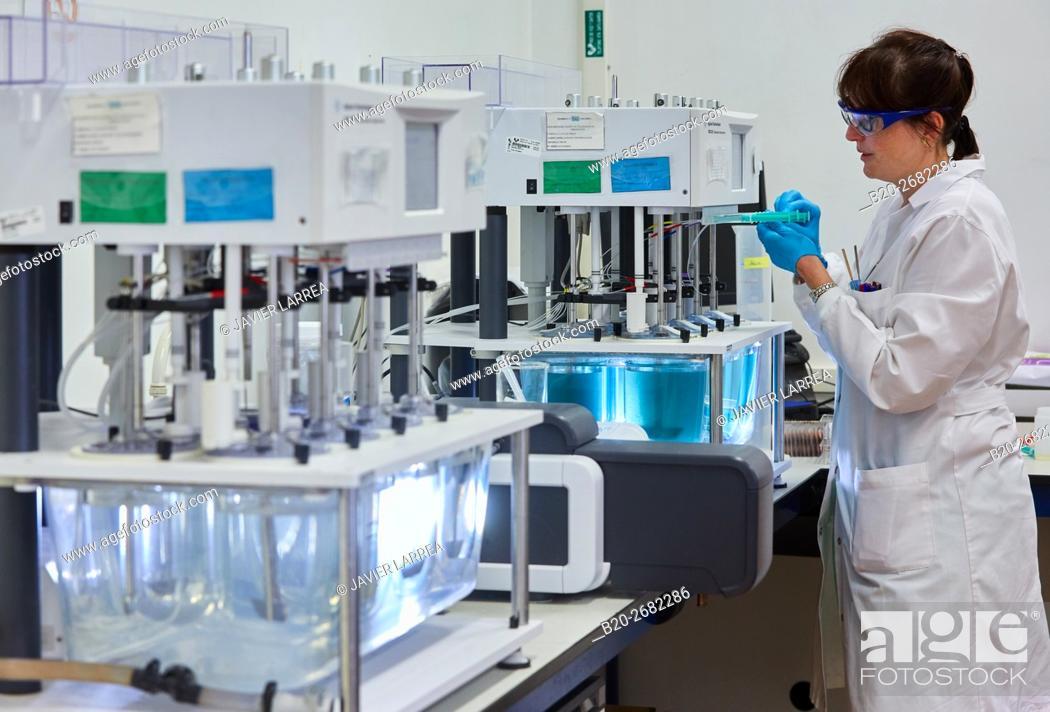 Stock Photo: Dissolvers. Dissolution apparatus. Pharmaceutical Development Laboratory. Pre-formulation, design and development of drugs and new pharmaceuticals.