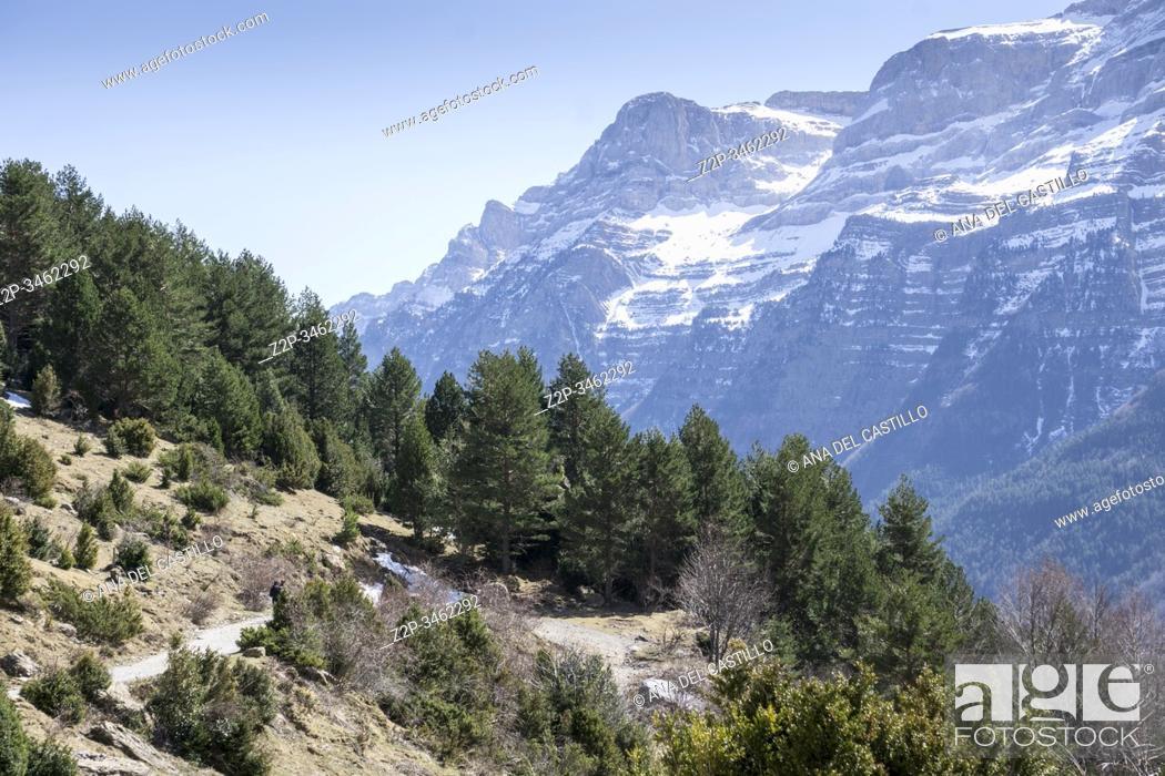 Stock Photo: Climbing La larri llanos Pineta glacial cirque Huesca Aragon Spain.
