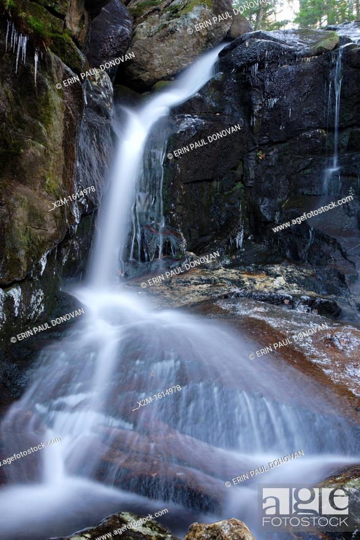 Stock Photo: Erebus Falls along Townline Brook in the White Mountains, New Hampshire USA  These are a series of three waterfalls referred to as Triple Falls.