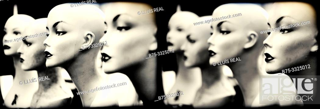 Stock Photo: Photo montage of the head portrait of several mannequins. London UK, Europe.