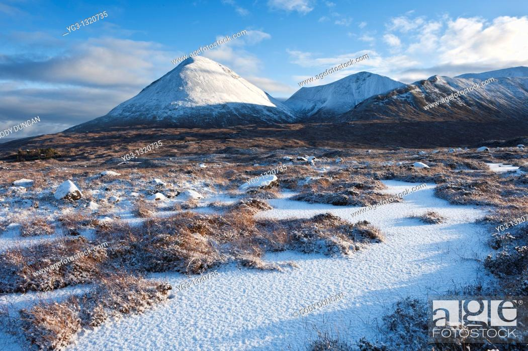 Stock Photo: Winter view of snow covered landscape and Red Cuillin hills, Isle of Skye, Scotland.