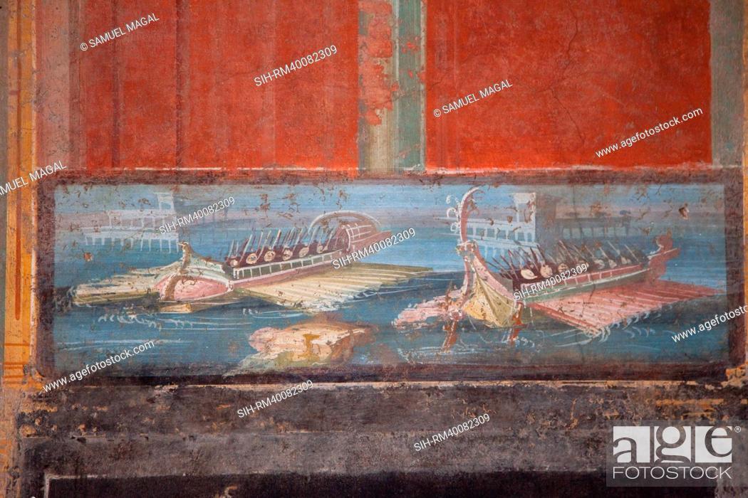 Stock Photo: Italy, Naples Museum, from Pompeii, Isis Temple, Naumachia, Representation of a Naval Battle.