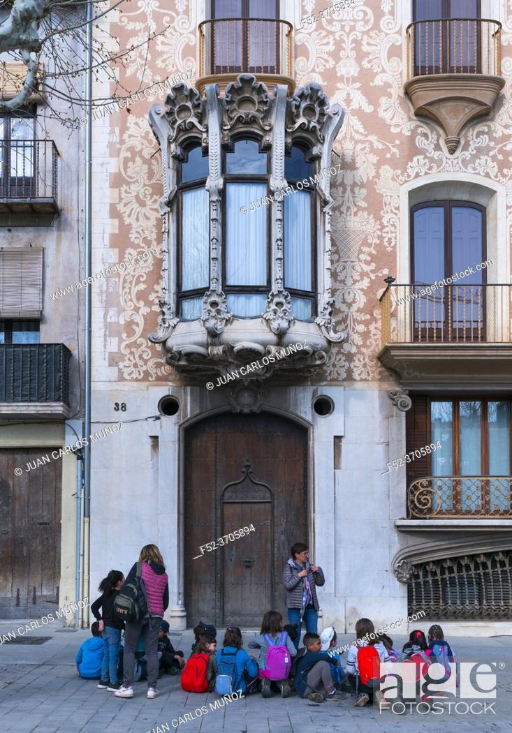 Photo de stock: Solà i Morales house, Lluis Domenech i Montaner architect, 1916, Catalan Modernism, Olot, La Garrotxa region, La Garrotxa Natural Park, Girona Province.