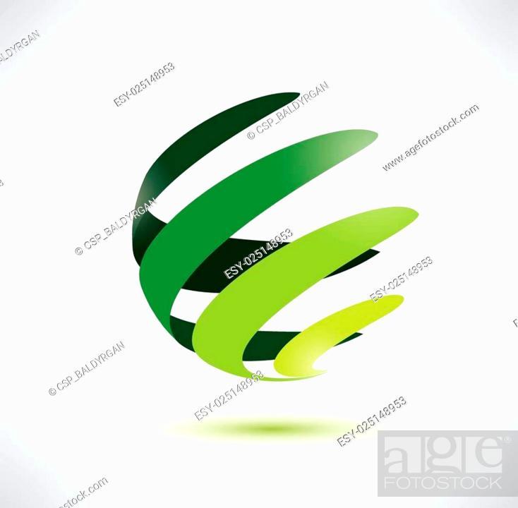 Stock Vector: abctract green globe icon.