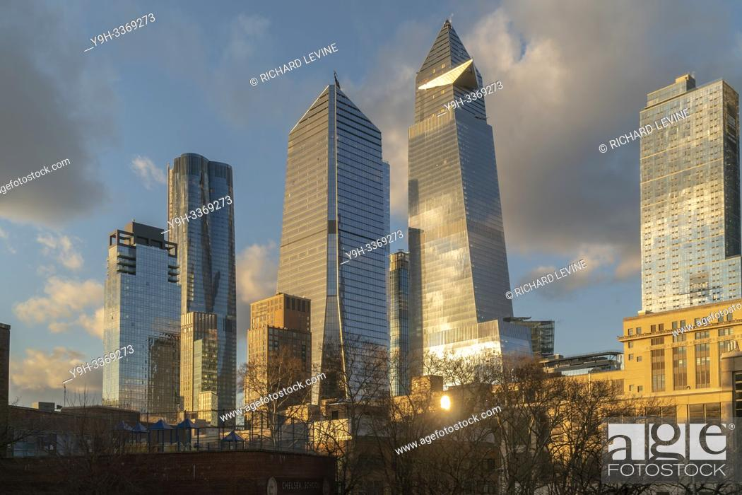 Stock Photo: 10 Hudson Yards, center left, 30 Hudson Yards, center right, and other development around Hudson Yards in New York on Monday, February 18, 2019.