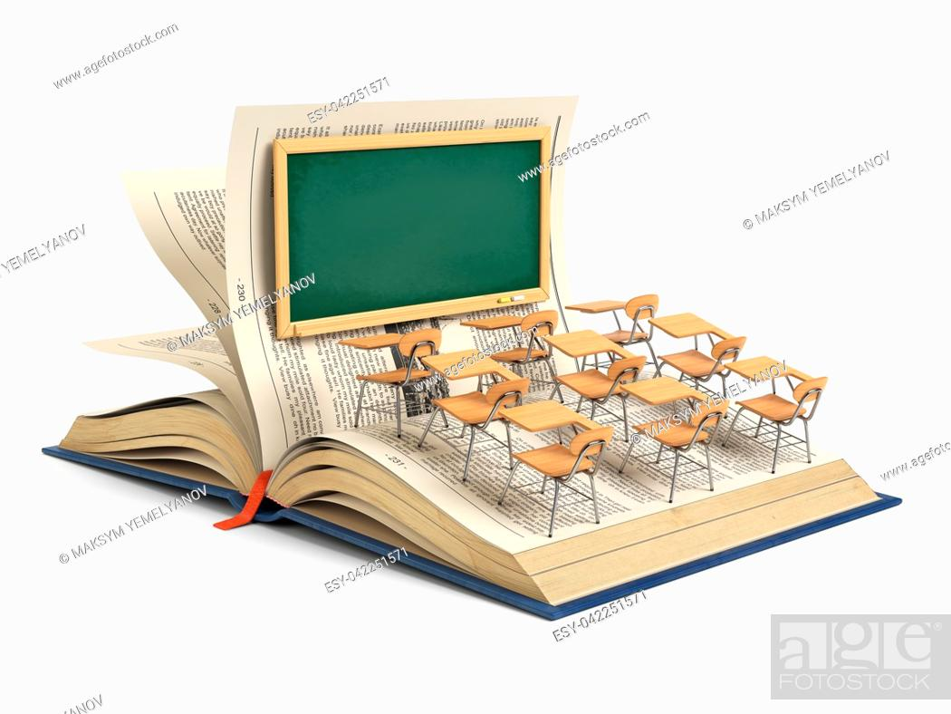 Imagen: Open book and a classroom with blackboard and school desks isolated on white background. Education concept. 3d illustration.