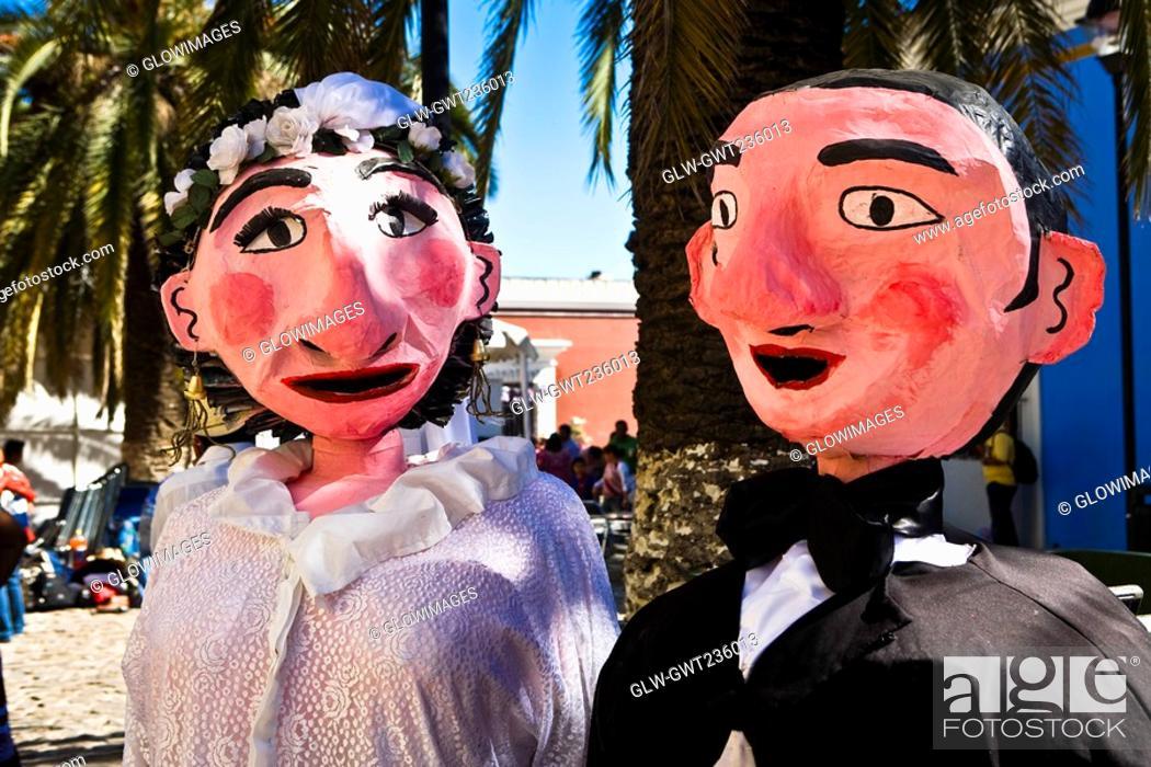 Stock Photo: Close-up of a newlywed puppet couple, Oaxaca, Oaxaca State, Mexico.