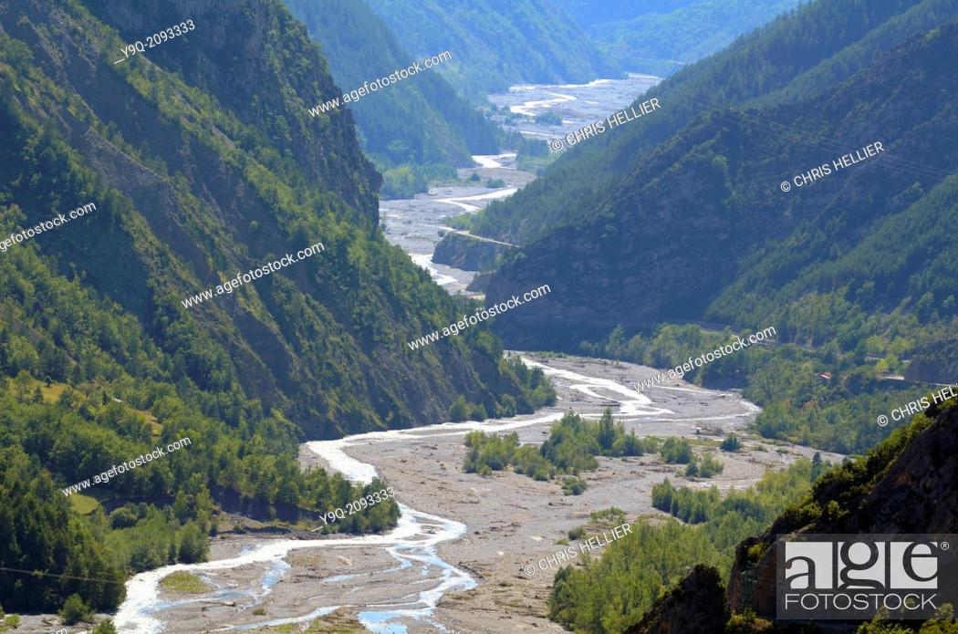 Stock Photo: River Var & Daluis Gorge Alpes-Maritimes France.