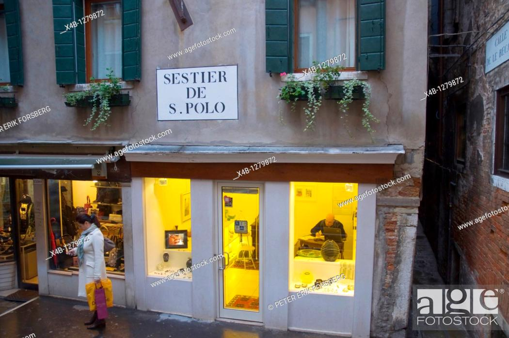 Stock Photo: Shop exterior San Polo district central Venice the Veneto northern Italy Europe.