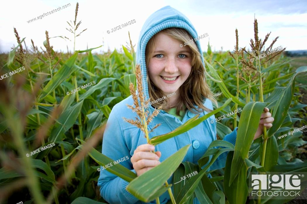 Stock Photo: Teenage girl 16-18 wearing hood in corn field, smiling, portrait.