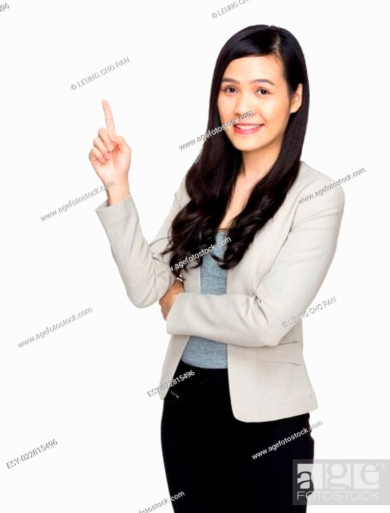 Photo de stock: Business woman with finger point up.