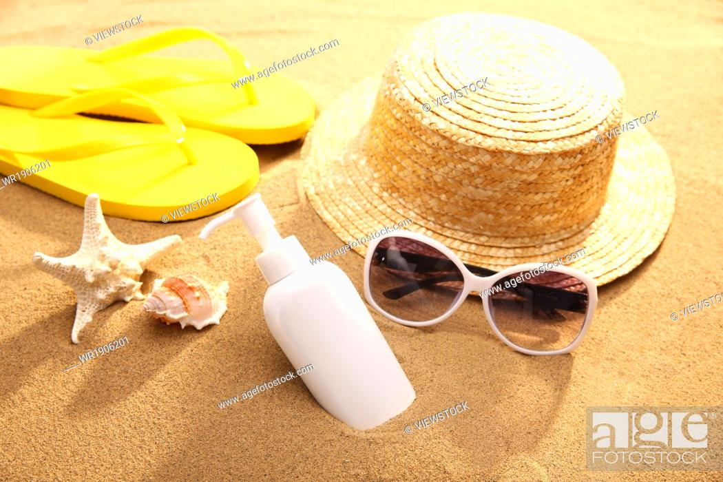 Stock Photo: On the beach of personal items.