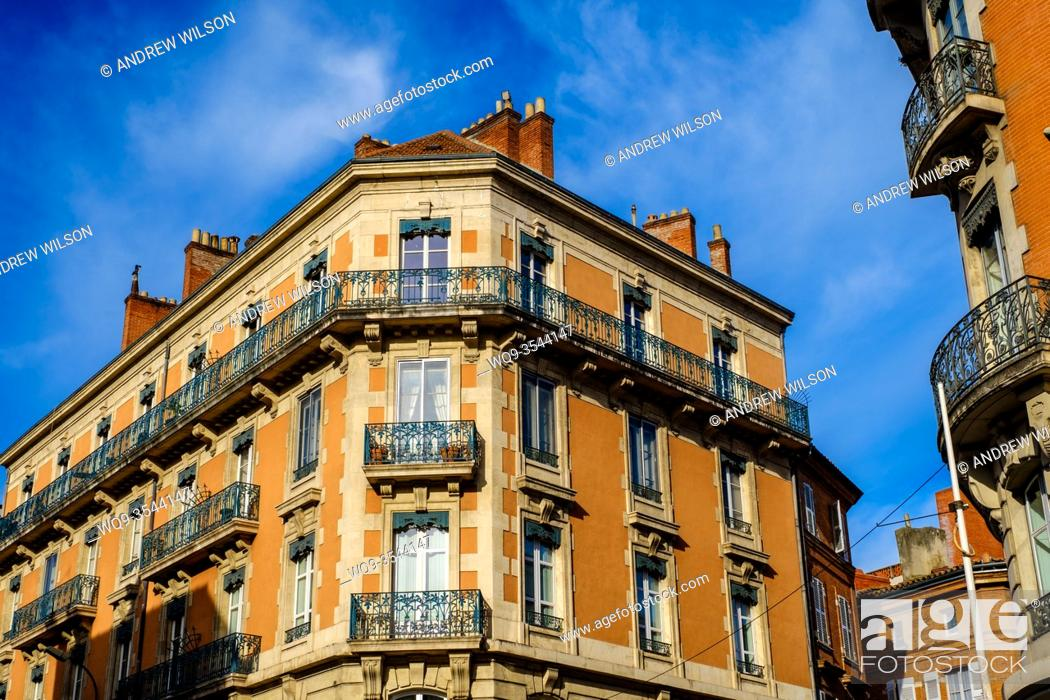 Stock Photo: Traditional French architecture in Toulouse, France.