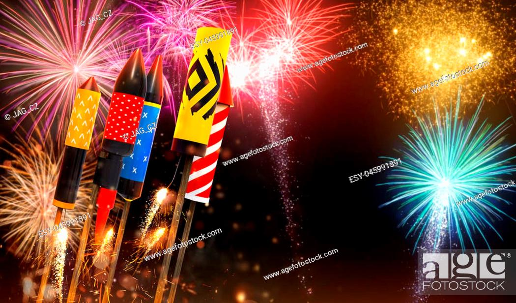 Stock Photo: Group view of fireworks rockets launching into the sky, free space for text. Concept of celebration and New Years Eve. 3D render of rockets.