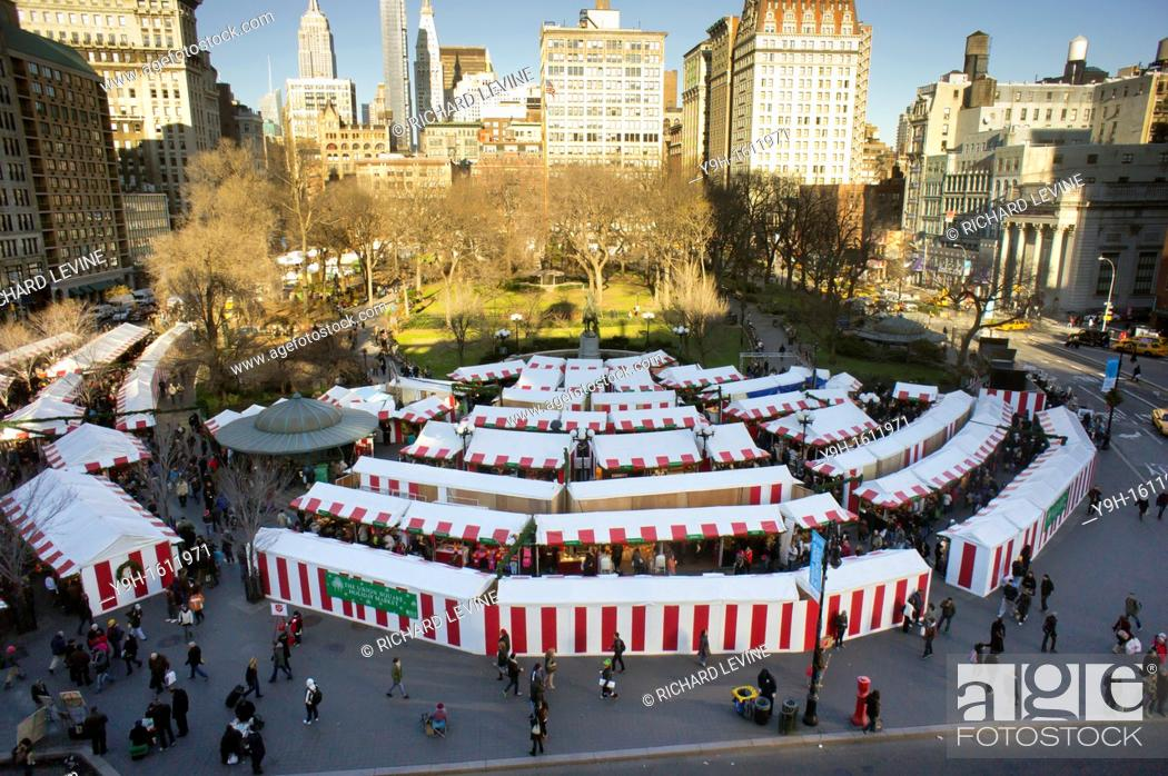 Stock Photo: The Union Square Holiday Market in New York Over 100 merchants participated in the annual market, in it's 18th year.