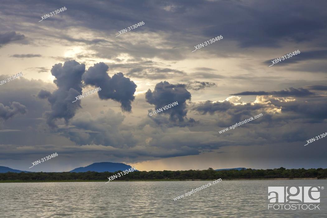 Stock Photo: Lake sunset landscape, Tanzania, East Africa.