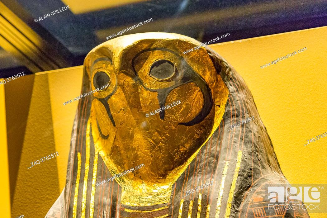 Stock Photo: Egypt, Cairo, Egyptian Museum, cartonnage coffin with hawk head, found in the royal necropolis of Tanis, burial of the king Sheshonq 2.