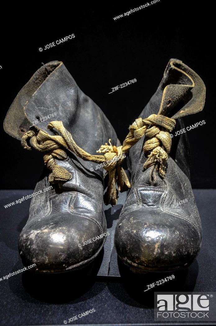 5803fb1b05c7 Stock Photo - Vintage football shoes exhibited in Santiago Bernabeu Stadium  Museum. All-seater football stadium in Madrid
