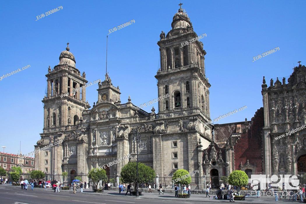 Stock Photo: Catedral Metropolitana, Metropolitan Cathedral, Zocalo, Plaza de la Constitucion.