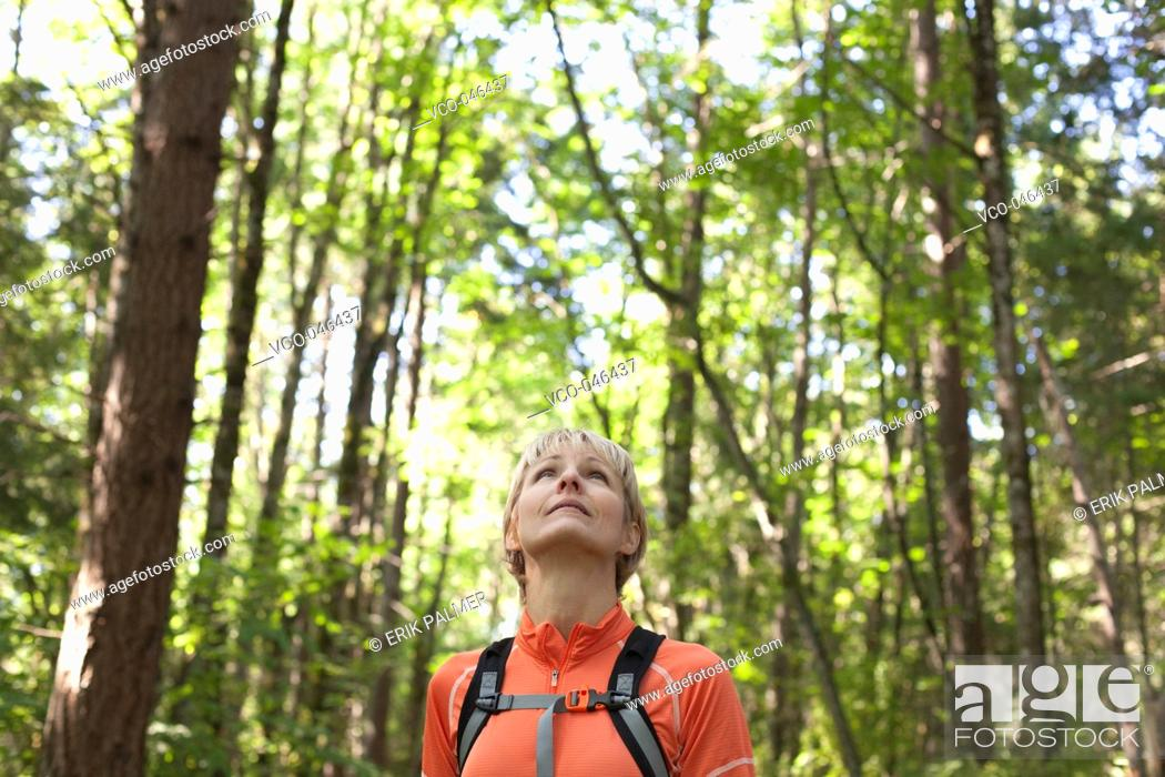 Stock Photo: Caucasian woman looking at sky during hike in forest.