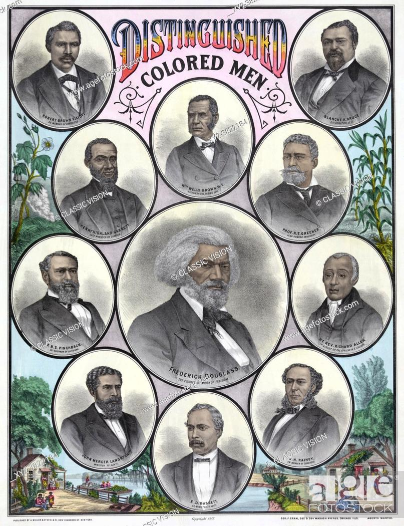 Stock Photo: Distinguished Colored Men. After a work published in the early 1880â. The portraits are of African Americans Frederick Douglass, Robert Brown Elliott, Blanche K.