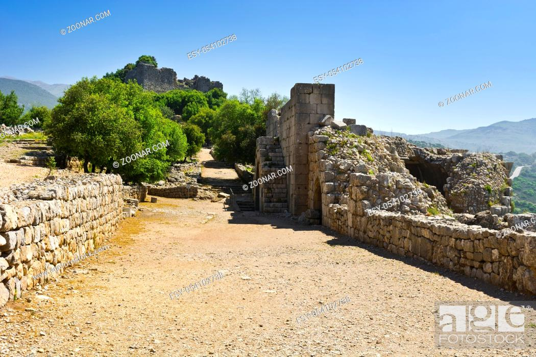 Stock Photo: Remnants of castle on the Golan Heights near the Israeli border with Syria. The Nimrod Fortress, National Park of Israel, scenery on the slopes of mount Hermon.