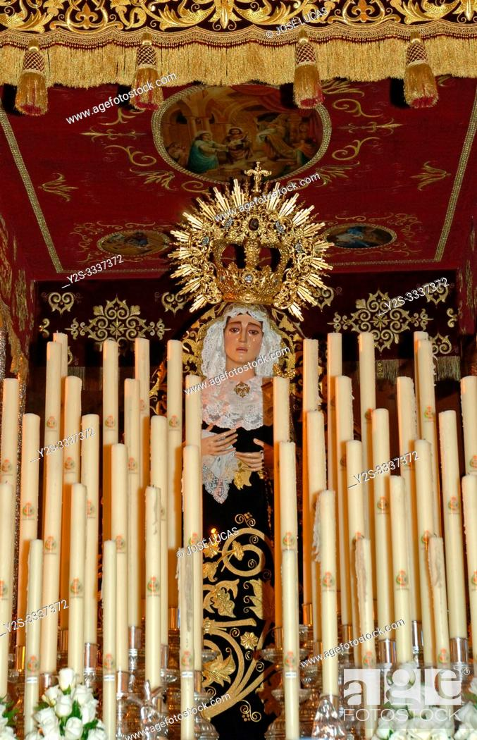 """Stock Photo: Holy Week. Brotherhood of the Students. """"Paso"""" of the Virgin of the Valley. Huelva. Region of Andalusia. Spain. Europe."""