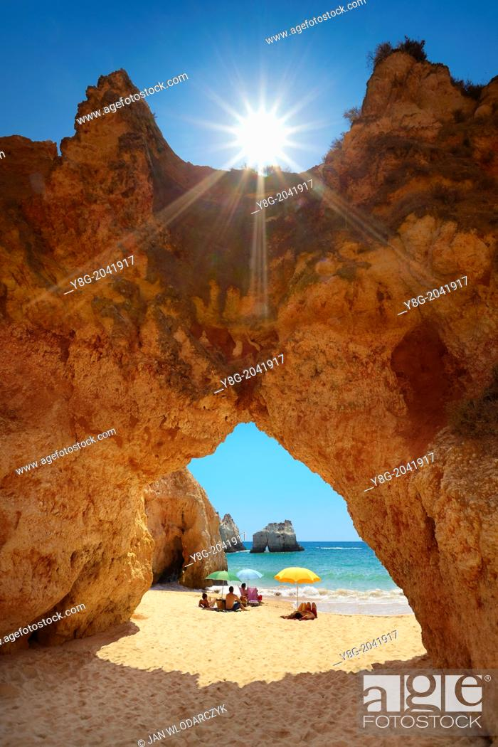 Stock Photo: Prainha Beach near Alvor, Algarve, Portugal.
