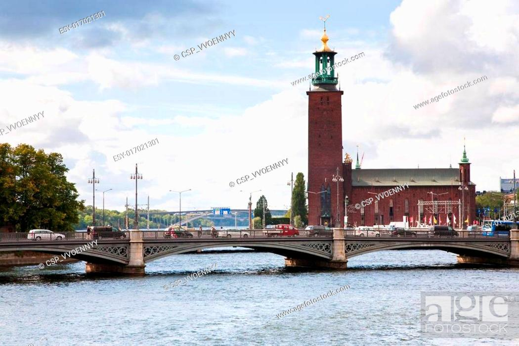 Stock Photo: view on Stockholm City Hall, Sweden.