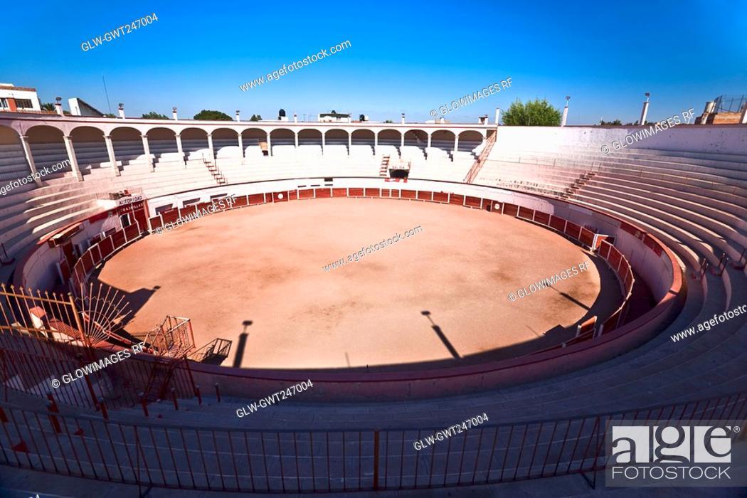 Stock Photo: High angle view of a bullring, Plaza De Toros San Marcos, Aguascalientes, Mexico.