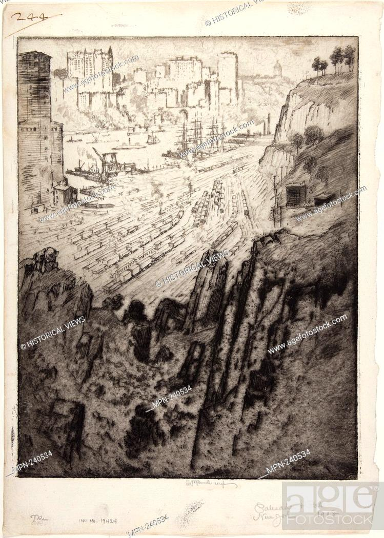 Stock Photo: Palisades and Palaces - 1908 - Joseph Pennell American, 1857-1926 - Artist: Joseph Pennell, Origin: United States, Date: 1908, Medium: Etching ivory laid paper.
