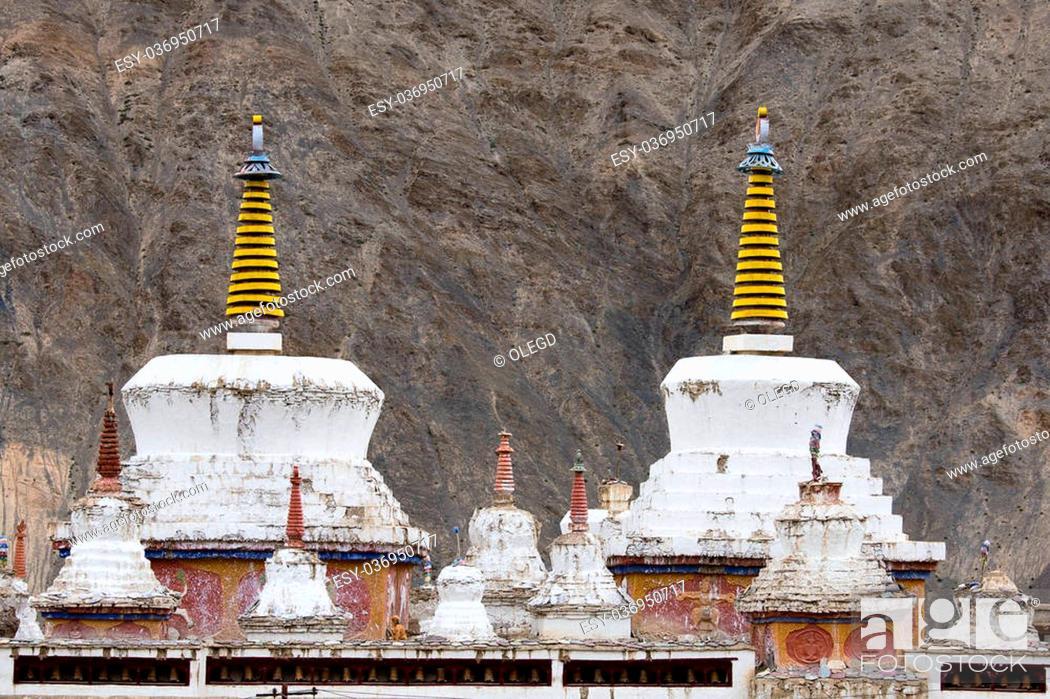 Stock Photo: White stupa in Lamayuru Tibetan Buddhist monastery. Ladakh, India.