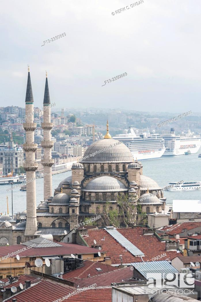 Stock Photo: new mosque and Istanbul in Eminonu district.