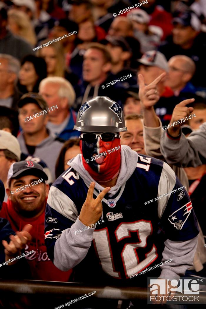 aefaafb795a Stock Photo - New England Patriots NFL Football fans at Gillette Stadium,  the home of Super Bowl champs, New England Patriots vs. the Dallas Cowboys,  ...