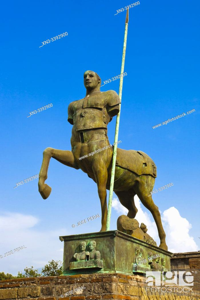Stock Photo: The Forum, Centaur statue, Excavations of Pompeii, was an ancient Roman town destroyed by volcan Mount Vesuvius, Pompei, comune of Pompei, Campania, Italy.