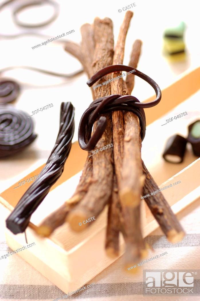 Stock Photo: stick of liquorice and liquorice candy.
