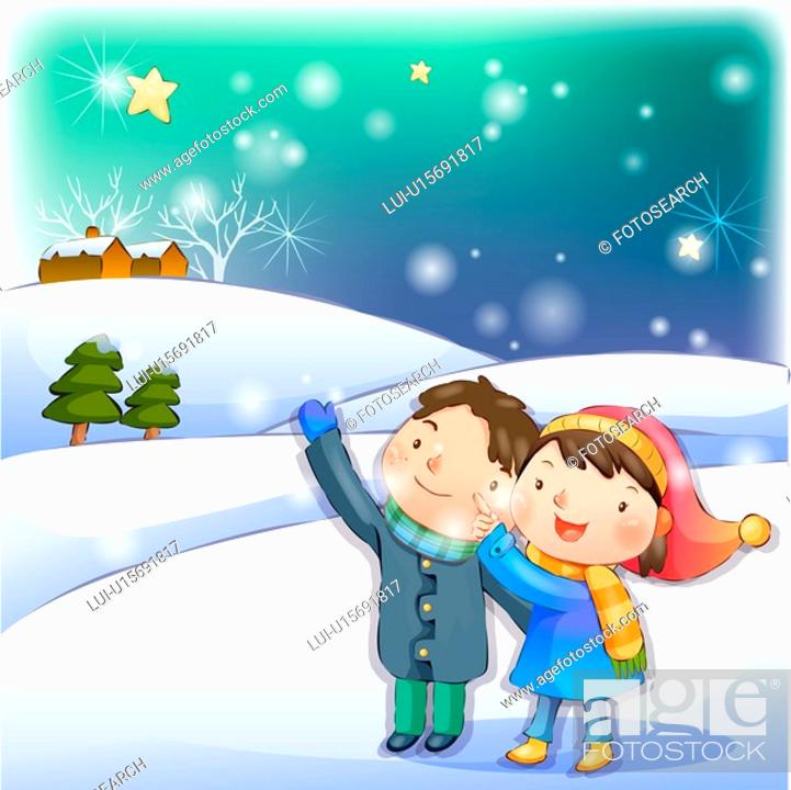 Stock Photo: couple, snow, boy, girl, chirstmas, child.