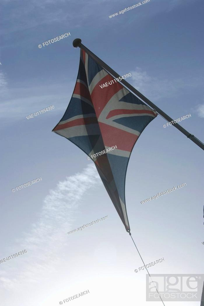 Stock Photo: Blue, British Flag, Clear Sky, Day.