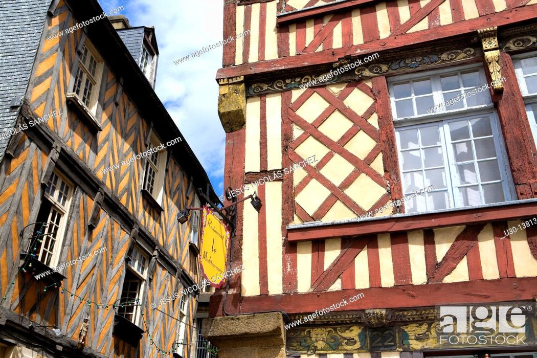 Stock Photo: Typical houses in the old town of Rennes, capital of Brittany Region, in Ille-et-Vilaine department  France.